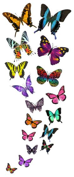 Cascading Butterflies Temporary Tattoo... I love the green one