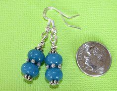 AQUA Ocean Blue Jade Roundel Silver Tone French Hook Drop Earrings HANDCRAFTED #BusyBeeBumbleBeads #DropDangle