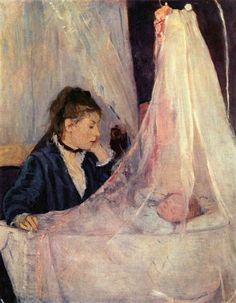 Le berceau 1873 Berthe MORISOT Berthe Morisot (née le 14 janvier 1841 à Bourges, morte le 2 mars 1895 à Paris) est une artiste-peintre française liée au mouvement impressionniste. Comme sa contemporaine américaine, Mary Cassatt, elle a souvent peint femmes, enfants et scènes familiales. Berthe Morisot tombe malade à la mi-février 1895. Elle meurt d'une pneumonie le 2 mars 1895 à Paris