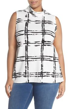 Bobeau Print Sleeveless Mock Neck Top (Plus Size) available at #Nordstrom