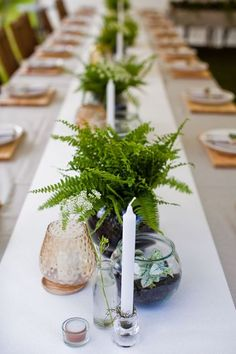 Botanical wedding table - 25 Edgy And Bold Fern Wedding Ideas – Botanical wedding table Fern Wedding, Botanical Gardens Wedding, Floral Wedding, Wedding Flowers, Rustic Garden Wedding, Garden Weddings, Trendy Wedding, Elegant Wedding, Wedding Simple