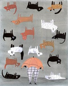 Raining Cats and Dogs by EsmeShapiro on Etsy Cat And Dog Drawing, I Miss My Cat, Raining Cats And Dogs, Animal Crackers, Dog Illustration, Dog Art, Cute Drawings, Illustrators, Print Patterns