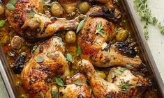 Yotam Ottolenghi's roast chicken legs with dates, olivers and capers: worth the wait. Photograph: Colin Campbell for the Guardian