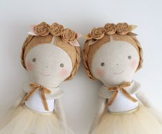 Mustard Gold & Pink doll. Rag doll ballerina with a tutu. by blita