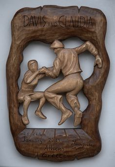 Wood carving lindy hop dancers Davis and Claudia  by Athanasia Pastrikou