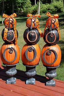 Pumpkins, Fall or Halloween crafts, alternative to pumpkin carving - #Halloween #Decorations #Ideas