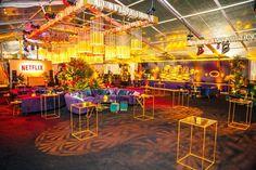 Event Design From Oscars, Golden Globes, Emmys Red Color Schemes, Golden Design, Havana Nights, Exhibition Display, Ceiling Decor, Custom Lighting, Fashion Room, Golden Globes, Unique Photo
