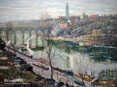 High Bridge, Harlem River by Ernest Lawson - Oil Painting Reproduction - BrushWiz.com