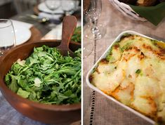 A basic salad like this baby spinach and arugula salad with pine nuts and Parmesan is a great go-to. And a butternut squash lasagna is a perfect fall dish that's easy to prep ahead of time