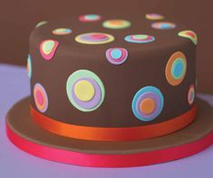 Cake Decorating from De Agostini. From birthday cake designs to cupcake decorations, Cake Decorating gives you perfect results every time! Cute Cakes, Pretty Cakes, Beautiful Cakes, Amazing Cakes, Button Cake, Fondant Cakes, Cupcake Cakes, Circle Cake, Polka Dot Cakes