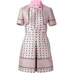 Fendi Bag Bugs shirt dress (3,558 CAD) ❤ liked on Polyvore featuring dresses, white a line dress, shirt-dress, collared shirt dress, print dress and short sleeve a line dress