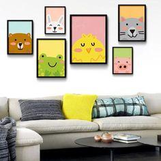 Cartoon Animals, Bear Pig Cat Minimalist Art Canvas Painting, Nursery Wall,  Modern Baby Room Decor