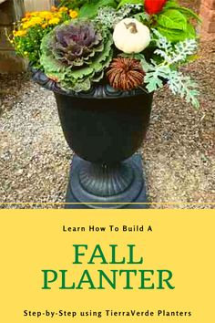 Build a fall planter, step by step, with this video from June Spanier, using the Crescendo Urn. The TierraVerde collection of planters are ecofriendly and made of #recycledrubber from used car tires diverted from landfill. They are super durable and beautiful, too! In this how-to video, see how fall plants including rudbekia, kale, fall mums, and other autumn bounty make a colorful arrangement for your fall frontdoor decor! Fall Mums, Fall Planters, Recycled Rubber, Urn, Timeless Design, Kale, Eco Friendly, Colorful, Autumn