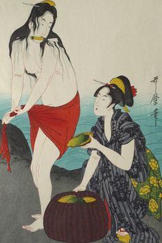 "Japanese Ukiyoe Woodblock print antique Utamaro ""Abalone Divers (right)"" More"