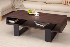 Hokku Designs   Ives Rectangular Coffee Table in Dark Walnut ~ sweet!