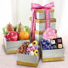 Happy Mother's Day Fruit and Sweets Gift Tower $59.95
