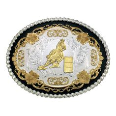 Vintage Filigree Western Belt Buckle with Barrel Racer (61667-667) - Western Buckles - Buckles | Montana Silversmiths
