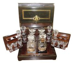 Antique Louis Philippe Baccarat Crystal Tantalus Decanter Set with Boulle