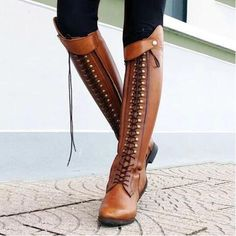 Retro Knee Rivet With Thick Heel Boots, boots for women,shoes, boots outfit– ebuychic Thick Heel Boots, Lace Up Boots, Knee High Boots, Over The Knee Boots, Leather Boots, Heeled Boots, Women's Boots, Flat Boots, Ankle Boots