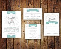 Turquoise Wedding Invitation Set  Printable by KFIVE on Etsy, $50.00