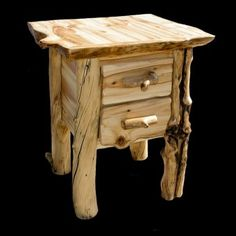 We offer this Grizzly Aspen Log Nightstand - 2 Drawer and other fine rustic aspen log furniture. Browse our rustic furniture catalogs now. Rustic Log Furniture, Twig Furniture, Driftwood Furniture, Natural Furniture, Western Furniture, Design Furniture, Furniture Making, Furniture Ideas, Log Home Interiors