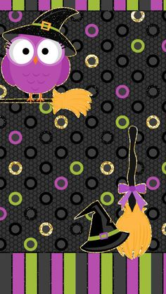 Free Halloween October Fall Harvest Phone iPhone Android Droid Wallpaper Goodies Owl Witch Broom Hat Polka Dots Stripes Purple Green Gold Black Glitter
