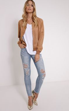 Riva Camel Faux Suede Bomber Jacket Image 3