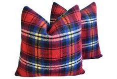 Custom Tailored Scottish Tartan Plaid Wool Pillows - Pair
