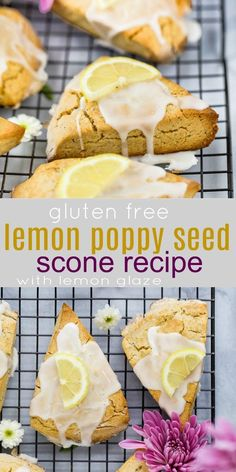 Gluten Free Lemon Poppy Seed Scones made in a food processor then drizzled with an easy sweet Lemon Glaze. Hands down the BEST gluten free flaky scone recipe you'll ever make! These Lemon Poppy Seed Scones are perfect for Easter or Mother's Day Brunch. Poppy Seed Scones Recipe, Lemon Poppy Seed Scones, Gluten Free Sweets, Gluten Free Recipes, Healthy Scones, Breakfast Healthy, Breakfast Smoothies, Scones Sans Gluten, Snack Recipes