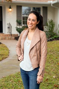 Portrait of Fixer Upper co-host Joanna Gaines in front of the Gulley home.