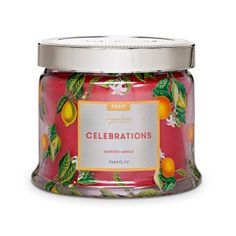 Celebrations—luxurious cranberry, red fruit and citrus notes are woven with the warmth of woods and vanilla. Burn time: 25-45 hours. $25.00 each http://www.partylite.biz/legacy/sites/juliehoyman/productcatalog?page=productdetail&sku=G73904