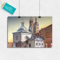 Plakat Krakowski rynek o poranku 100x70cm