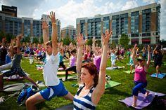 Yoga Rocks the Park at Midtown Crossing in Omaha! Classes begin at 4 p.m. every sunday through June 28, 2015. #YogaOmaha #OmahaFun #FitOmaha #BlueStoneHomes http://bluestonecustombuilders.com/