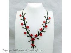 Elit Handicraft - N-K107089 İpek İğne Oyası - Gönül Çelen Kolye Flower Braids, Handicraft, Vines, Jewlery, Chain, Beads, Flowers, Crochet Collar, Necklaces