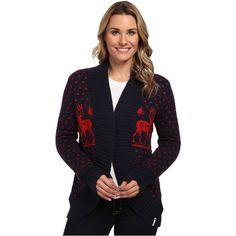 Woolrich Holiday Reindeer Wrap Sweater (Deep Indigo) Women's Sweater ($56) ❤ liked on Polyvore featuring tops, sweaters, grey, asymmetrical sweaters, long sleeve wrap sweater, patterned sweaters, long sleeve sweater and asymmetrical wrap sweater