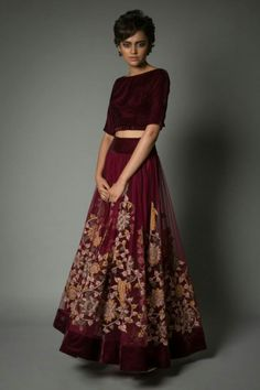 Velvet blouse and sheer lehenga with beautiful embroidered bottom and the color maroon with mustard hint on it makes it a perfect wear. TSL :)