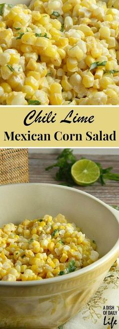 Like Mexican street corn? Turn it into a salad! This simple and delicious 15 minute Chili Lime Mexican Corn Salad can be used either as an appetizer or side dish for any Mexican dinner or your next cookout.: