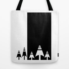 Modern forest design, Black and white scandinavian tote bag by Limitation Free #society6