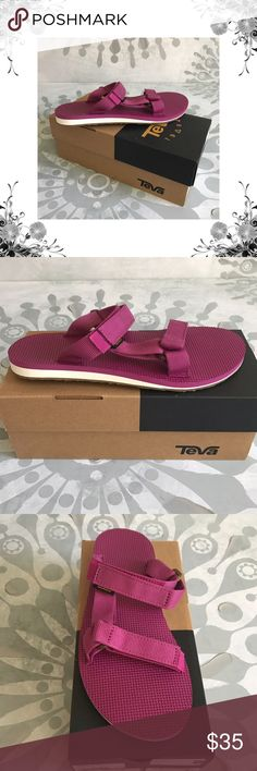 """Teva Textured Slide Sandals Manufacturer Color is Magenta. New with box. Slide Sandals. Heel Height is 3/4"""".  Platform Height is 1/2"""". Textile Upper. Textured Fabric. Bundle for discounts! Thank you for shopping my closet! Teva Shoes Sandals"""