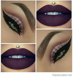 Purple lips and glitter eye makeup