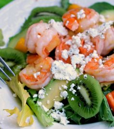 Delicious summer salad with pineapple shrimp. Add peppers, fresh mango, kiwi and other assorted fruits and you have a delicious pineapple shrimp salad.