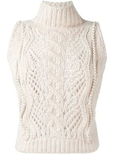 Shop Ermanno Scervino pearl-embellished sleeveless sweater.