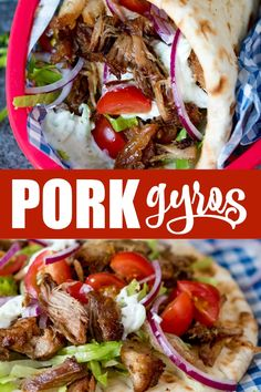 This recipe for Pork Gyros with Tzatziki and Sweet Chili Sauce is a keeper – one taste and you'll be hooked! You need to make this classic Greek dish. Lamb Gyros, Chicken Gyros, Side Dish Recipes, Pork Recipes, Cooking Recipes, Healthy Recipes, Healthy Meals, Amish Recipes, Kitchens