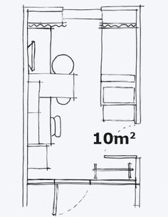 A hand-drawn floor plan of a 100 square foot room.