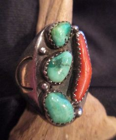 Vintage Turquoise Red Coral Native American Navajo Indian Sterling Ring 9.5