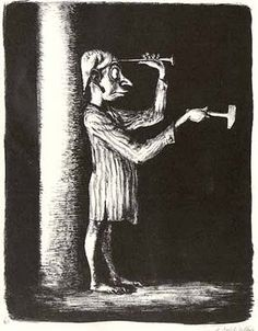 """A. Paul Weber, Der Schlag ins Leere, 1933 The above drawing, a """"Michel"""" (the average German small guy) hammering a nail into his head, was Weber's response to Hitler's seizure of power."""