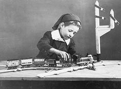 Victorian Photo Of A Young Boy, Playing With His Train Set.