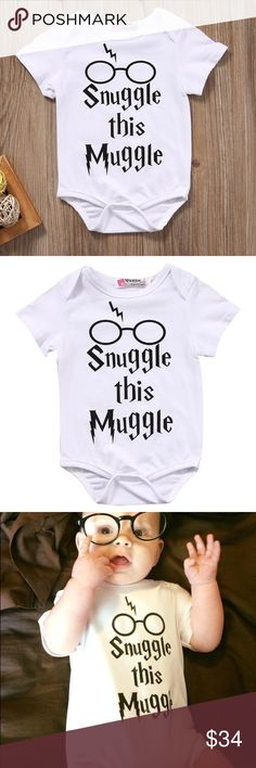 """Harry Potter Snuggle Muggle Onesie Baby Infant ADORABLE Harry Potter-themed infant onesies featuring front """"Snuggle This Muggle"""" screenprint! Great baby shower gift idea⚡️cute daily wear! Boutique - brand new!  Measure first for best fit! 0-3 mos: 9"""" bust, app 16"""" length (on). 3-6 mos: 10"""" bust, app 17"""" length. 9-12 mos: 10.5"""" bust, app 18"""" length. 12-18 mos: 11"""" bust, app 19"""" length.  Firm price - at my lowest! No trades/holds. Boutique One Pieces Bodysuits"""