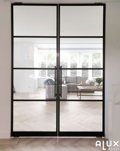 Black French Doors, Black Doors, White Hallway, London Townhouse, Dream House Exterior, Steel Doors, Windows And Doors, Home Goods, House Plans