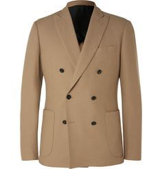 Hardy Amies - Camel Slim-Fit Double-Breasted Brushed-Cashmere Blazer | MR PORTER
